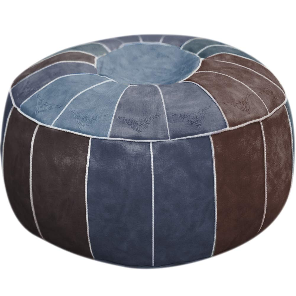 PLAFUETO Moroccan Leather Pouf Handmade PU Leather Pouffe Round Floor Cushion Ottoman Footstool Hassock for Living Room Bedroom Unstuffed 23'' x 11'' Blue by PLAFUETO