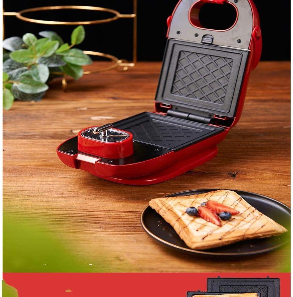 BNMMJ Sandwich Maker Breakfast 650w Controllo della temperatura regolabile antiaderente, acciaio inossidabile con funzione di temporizzazione e teglie multiple rosse Rosso