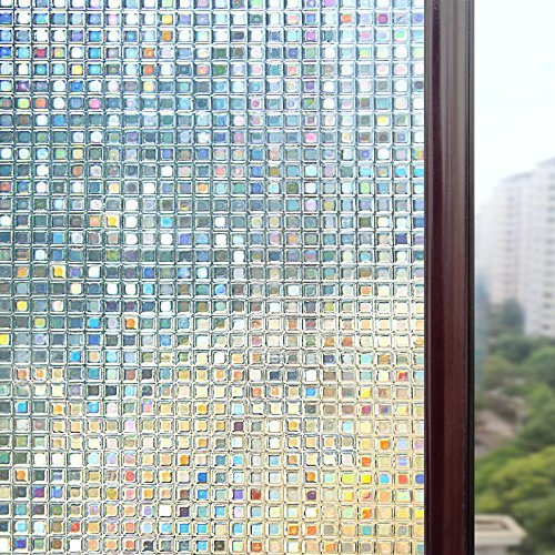: Rabbitgoo 3D Window Films Privacy Film Static Decorative Film Non-Adhesive Heat Control Anti UV 17.7In. By 78.7In. (45 x 200Cm)