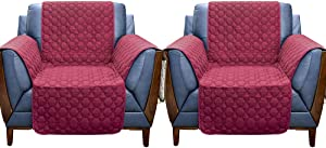 RBSC Home 2 Pack 23 Inch Armchair Covers - Super Anti-Slip 100% Waterproof Stain Resistant Chair Covers for Dogs Cats Pets Washable Furniture Proector (2 Pack Burgundy)