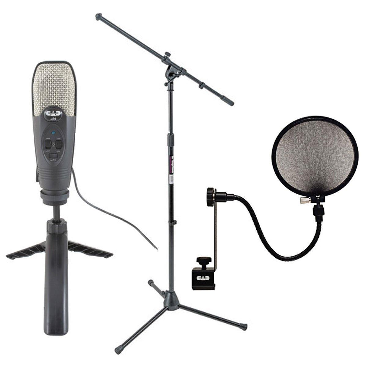 CAD Audio U39 USB micrófono de condensador cardioide de gran diafragma + on stage Stands MS7701B trípode Boom Soporte de micrófono + Cad Audio EPF-15 A Pop ...