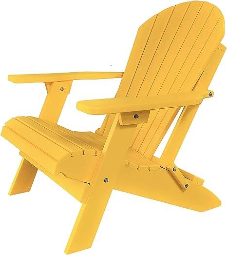 POLY Folding /& Reclining Adirondack Chair Lemon Yellow