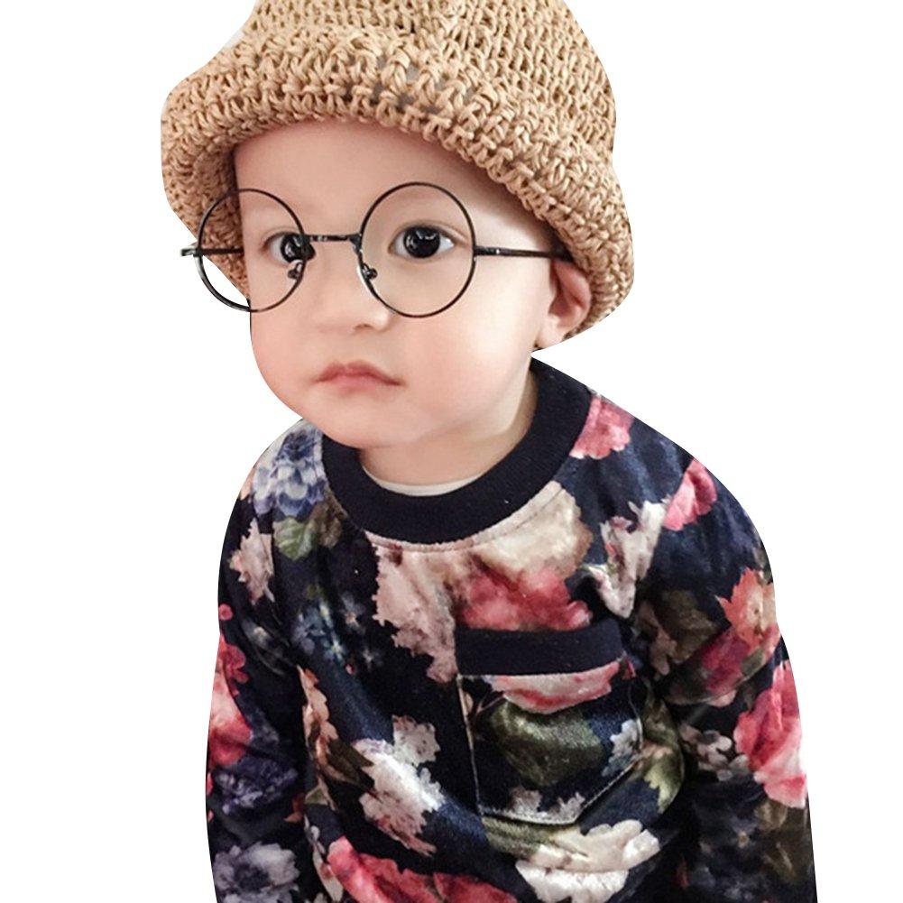 Occhiali Rotondi per Ragazze Ragazzi - Moda Vintage Stile Lenti Trasparenti in Metallo Montatura per Infantile Bambini Unisex X170929ETYJJ0102-ka