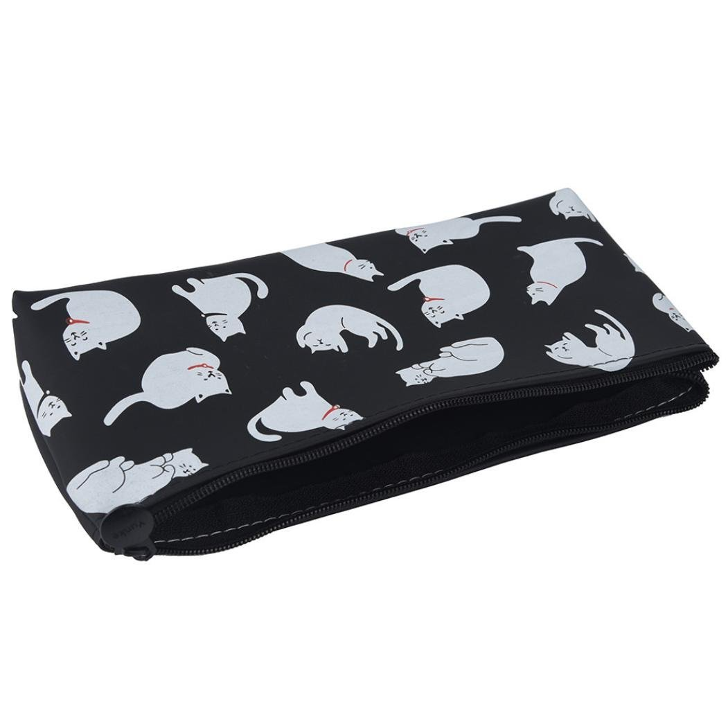 Tpingfe Cats Silicone Gift School Pen Case Cosmetic Makeup Storage Bag Purse (Black) by Tpingfe (Image #3)