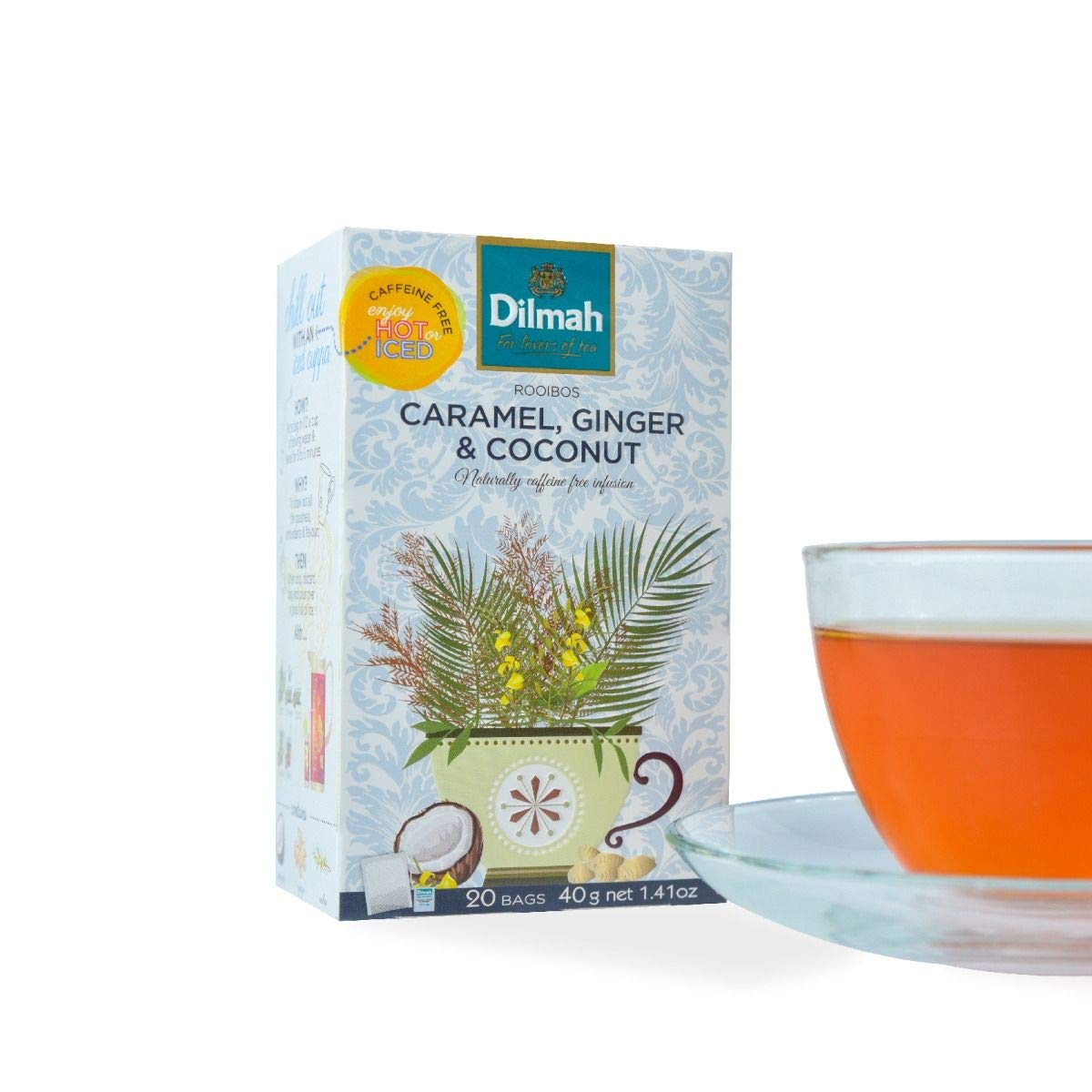 Dilmah Red Rooibos with Caramel Ginger and Coconut Tea - 20 Tea Bags X 8 Pack - Naturally Caffeine Free by Dilmah