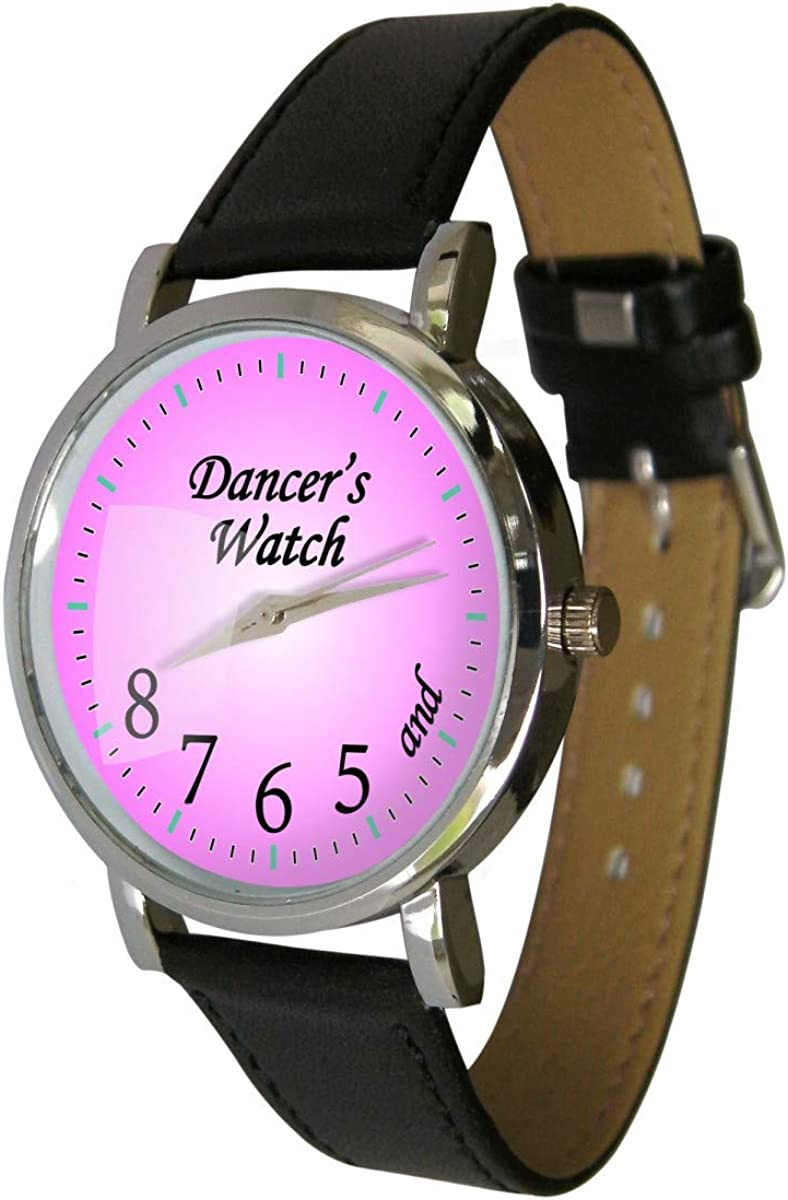 Pink Dancers Watch Showing and 5 6 7 8 Makes a Great Gift for Any Dancer Genuine Leather Strap