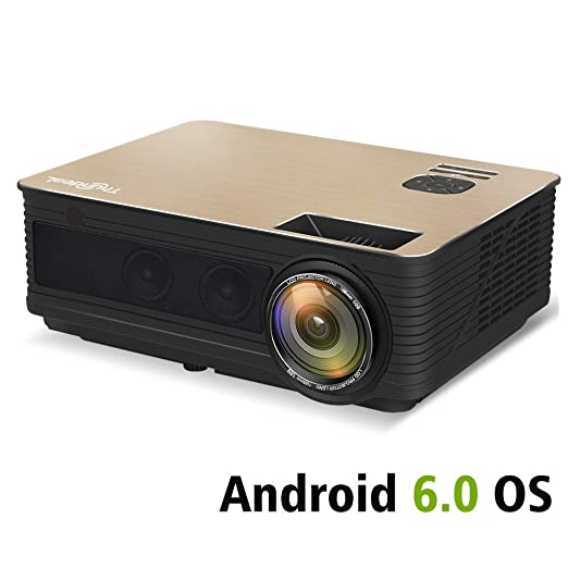 TONGTONG Proyector HD 4000 Lumen Android 6,0 WiFi proyector ...