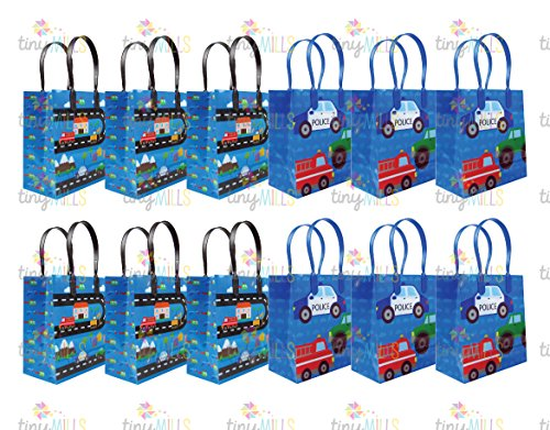 Cars Fire Trucks Transportation Party Favor Bags Treat Bags, 12 (Truck Birthday Party Favors)