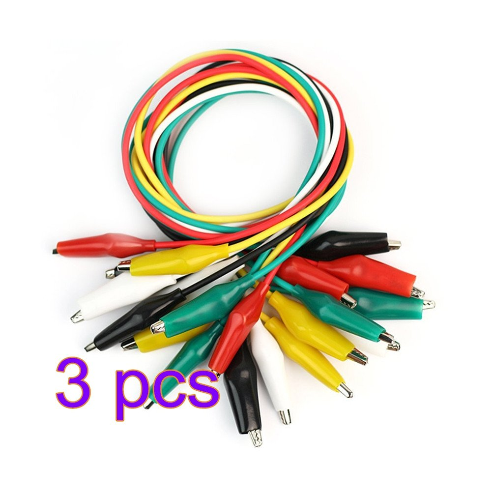 WeiMay 30 Pieces Test Leads with Alligator Clips Set Insulated Test Cable Double-ended Crocodile Clip Jumper Wire, 19.7inch