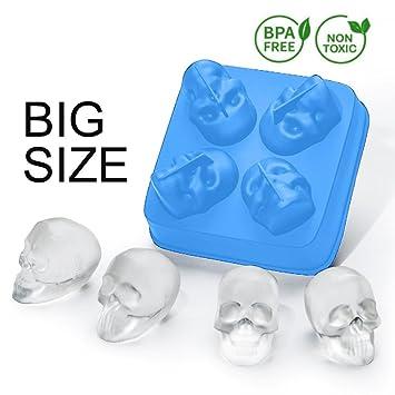 Compra Bandeja de silicona flexible de grado alimentario, hace 4 Enorme cubos de hielo de skull para su whisky, molde de chocolate.(Azul) en Amazon.es