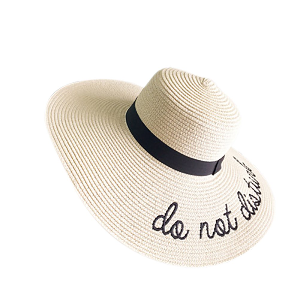 6708df8870a Opromo Women Embroidery Floppy Bucket Straw Hat Foldable Roll Up Beach Sun  Hat-Beige  Amazon.ca  Clothing   Accessories