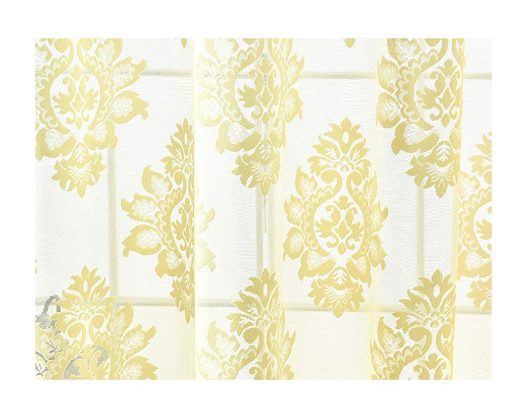 Aside Bside Sheer Curtains Victorian Style Rod Pocket Top Oblique Floral Jacquard Permeable Window Decoration Sitting Room Child Room Houseroom (1 Panel, W 52 x L 63 inch, Yellow)
