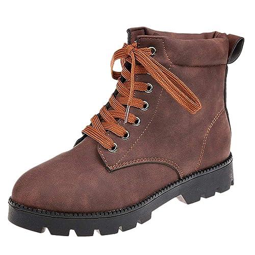 OHQ Martin Botas Cortas Invierno Moda Botines Mujer Tobillo Plano con Cordones Zapatos Bootie: Amazon.es: Zapatos y complementos