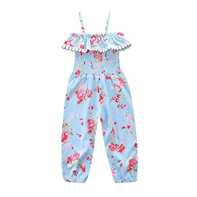 827f6e490c Amazon.com  Kids Baby Girls Straps Rompers