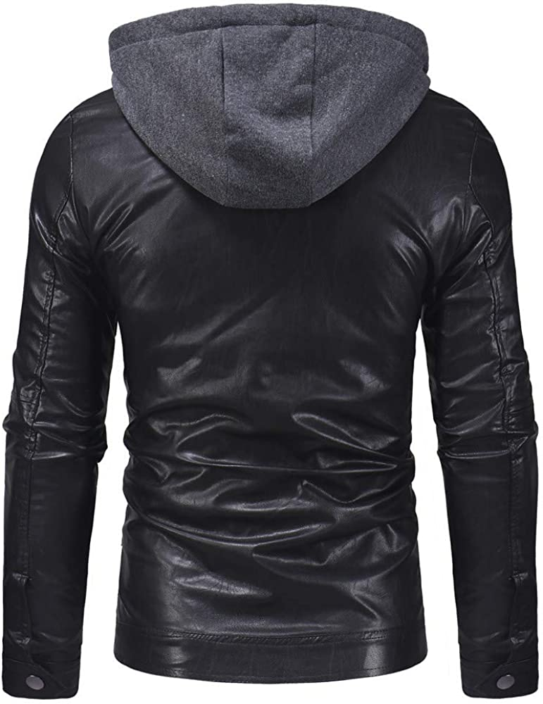 Mens Sport Coats and Blazers Slim Fit.Mens Autumn Winter Casual Hooed Leather Zipper Long Sleeve Jacket Coat Tops