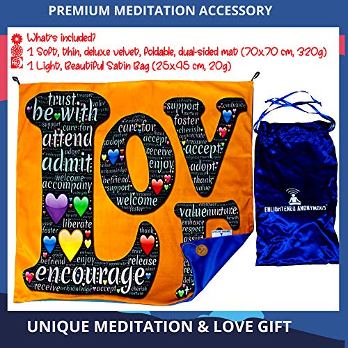 Meditation cushion mat, romantic meditation gift for her, love gift, bedroom decor for her, yoga tapestry, mindfulness cushion cover, yoga cushion mat comfortable, portable yoga mat, anniversary gift, satin carrier bag, gift for woman, cute