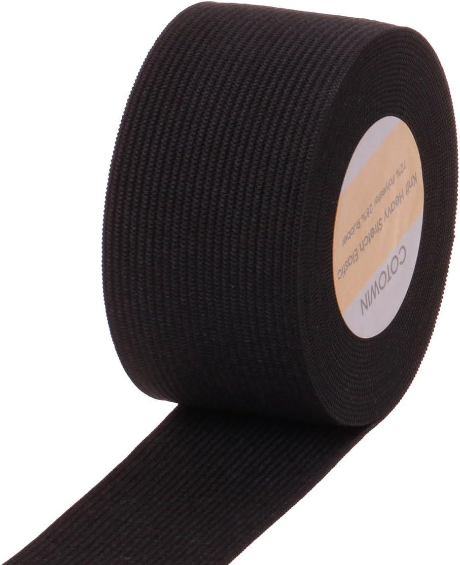 lusata 1.5-inch Wide Black Knit Elastic Spool Heavy Stretch High Elasticity Knit Elastic Band 5 Yard