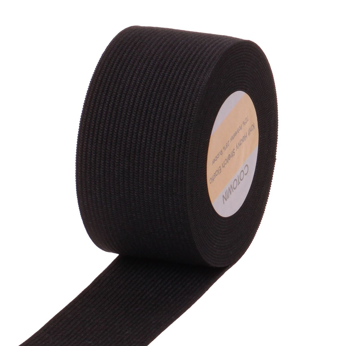 COTOWIN 1.5 Inch Wide Black Knit Heavy Stretch High Elasticity Elastic Band 5 Yards 4337000308