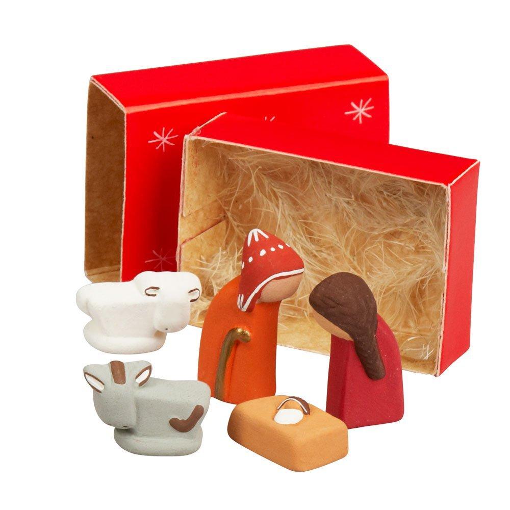 Ten Thousand Villages Small Ceramic and Paper Nativity Set 'Matchbox Nativity' Allpa