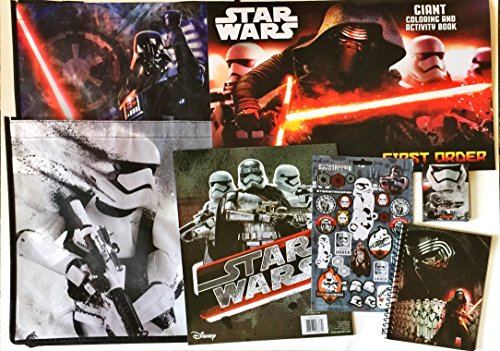 SNOWTROOPER - LIMITED Disney Star Wars Recyclable Tote Bag Bundle Exclusive [2 Star Wars Tote Bags, Coloring Book, Crayons, Pocket Folder, Notebook, and