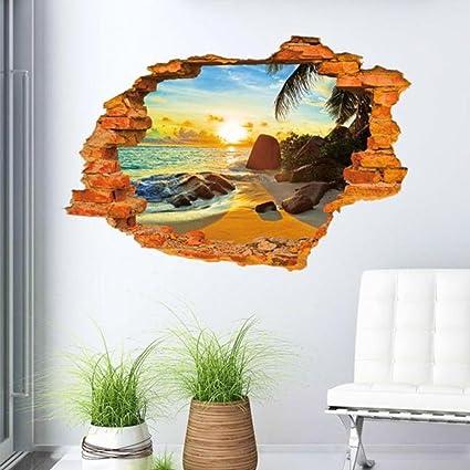 Murales 3d Per Interni.Wall Sticker Ddlbiz 3d Adesivi Murales Sole Moda Mare Oceano Creativi Wall Stickers 3d Pvc Di Alta Qualita Degli Autoadesivi Della Parete Della