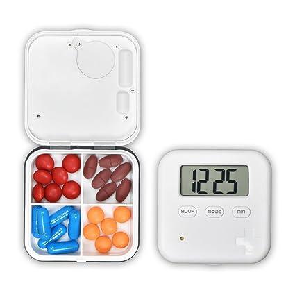 Janolia - Pastillero, 4 rejillas, organizador de pastillas, con alarma de tiempo, caja de pastillero azul con temporizador para vitaminas, aceite de hígado ...