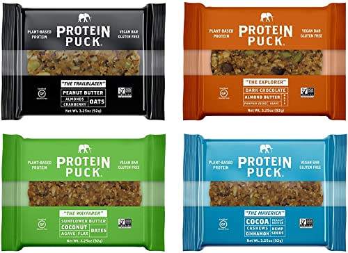Protein Puck 4 Flavor Protein Bar Variety Pack, 4 Peanut Butter, 4 Almond Butter, 4 Sunflower Butter, 4 Cocoa Cinnamon 16 Bars