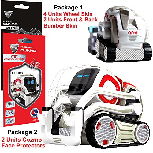 IPG for Cozmo Robot Face Screen Guard KIT Excellent Protector from Unexpected Attacks of Kids and Pets. Include Wheels & Bumpers Decoration Set (Grey Carbon Fiber)