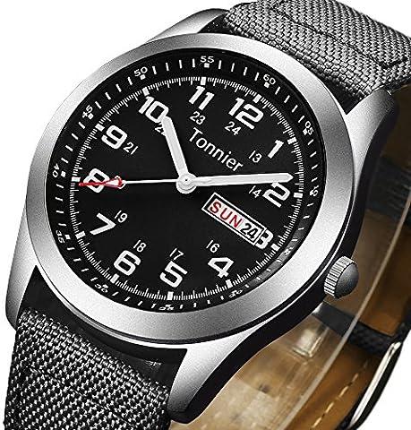 Tonnier Men's Weekender&Calendar Analog Black Canvas Strap Mans Watches (Mens Strap Watches)