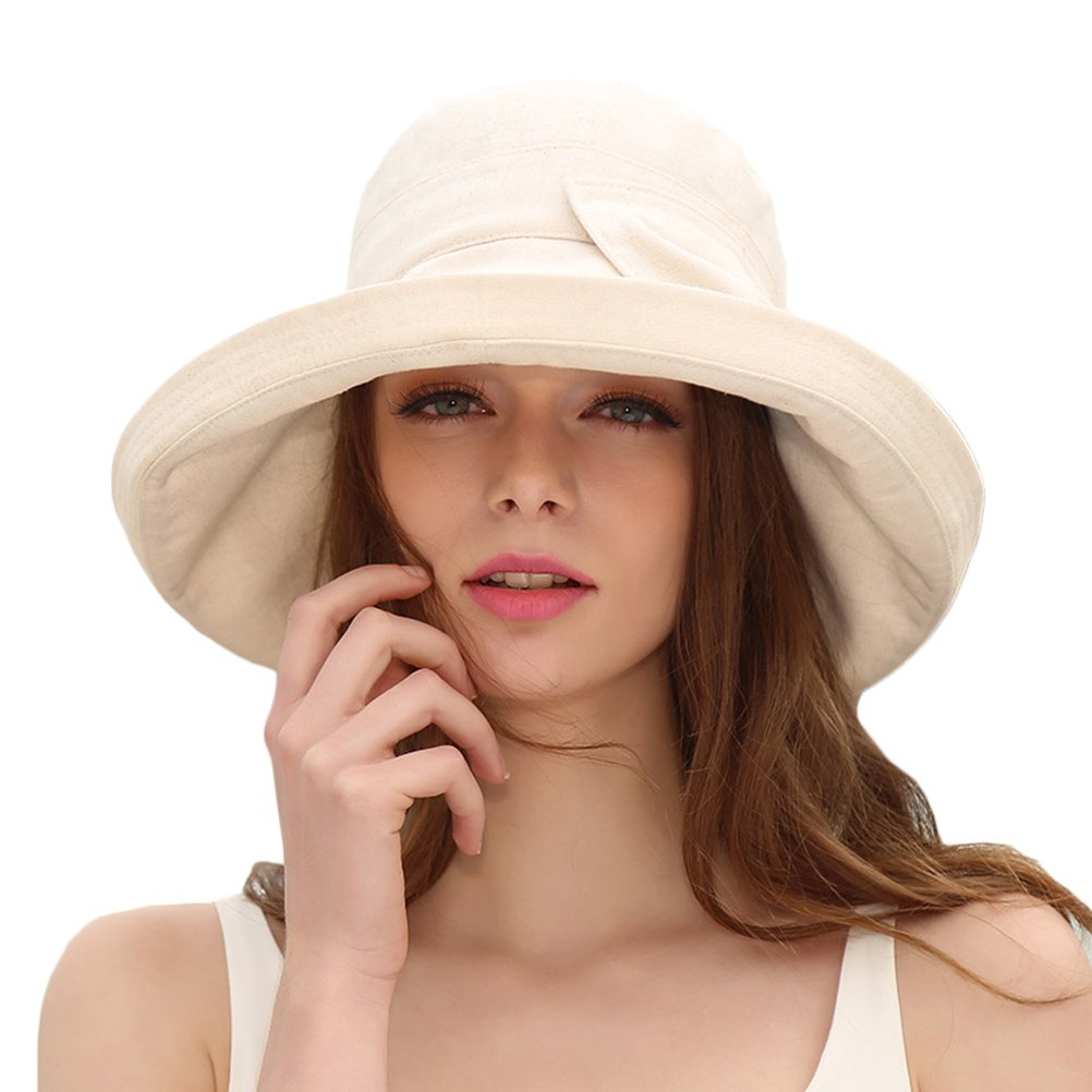 CACUSS Women's UPF 50+ Foldable Linen/Cotton Hat Big Brim with Big Bowknot and Inner Drawstring(Beige)