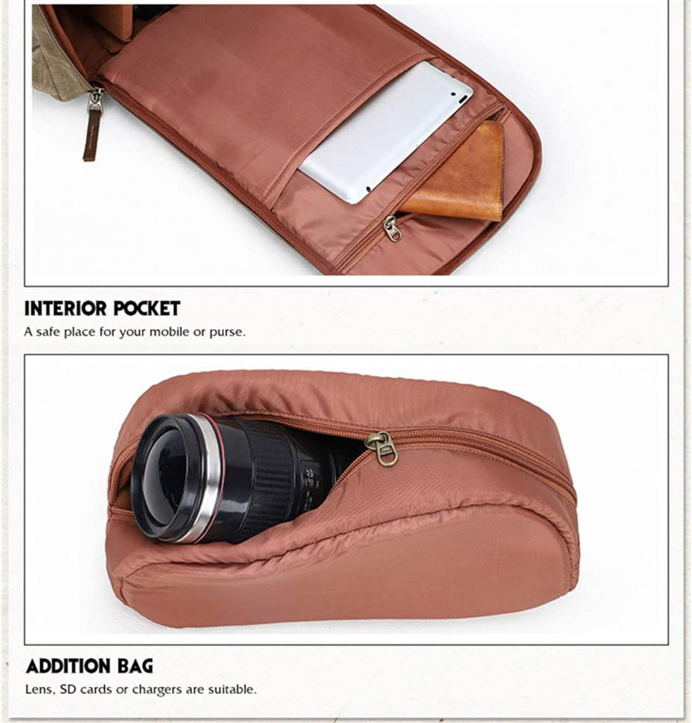 CHZHENG Camera Backpack Lens,Laptop and Accessories Travel Use Vintage Waterproof Photography Canvas Bag for Camera