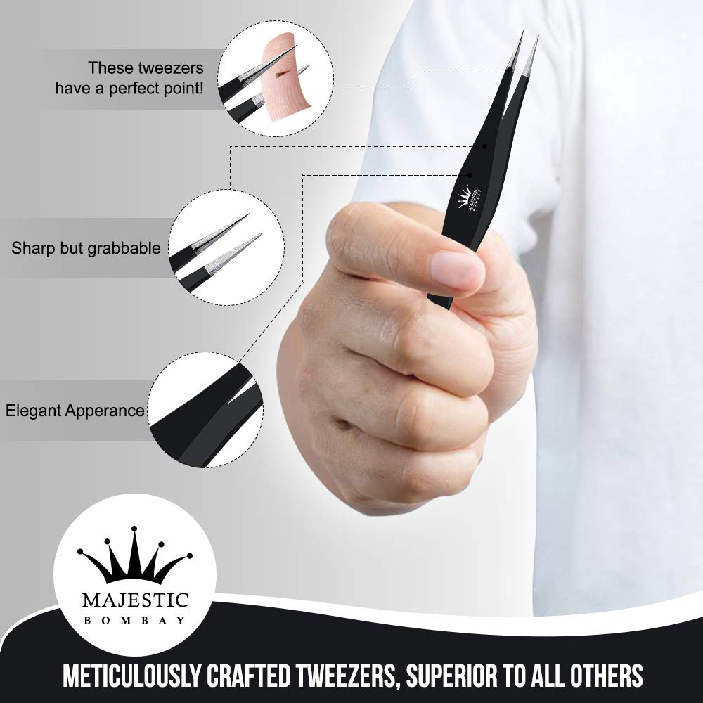 Surgical Tweezers for Ingrown Hair - Stainless Steel Precision Sharp  Tweezers for Splinters, Ticks and