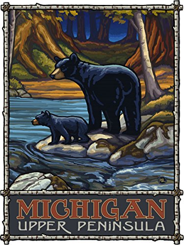 Michigan Upper Peninsula Bears In Stream Metal Art Print by Paul A. Lanquist (18