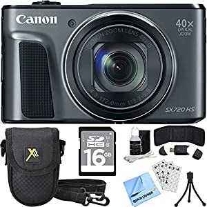 Canon PowerShot SX720 HS CMOS Digital Camera Black w/ 16GB Card Bundle includes Camera, 16GB SDHC Memory Card, Carrying Case, Mini Tripod, Screen Protectors, Cleaning Kit, Beach Camera Cloth and More