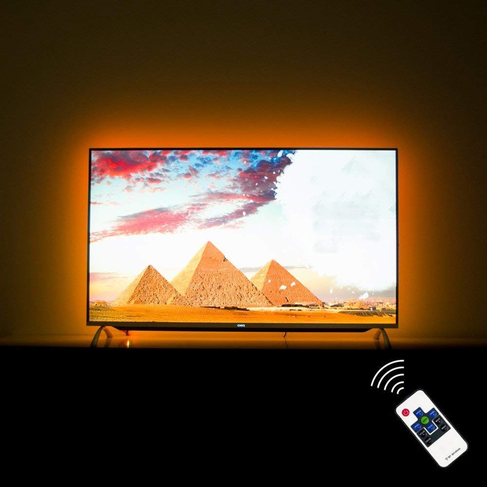 HAMLITE LED TV Backlight 70 75 80 82 Inch TV Bias Lighting, USB TV Light Strip Behind TV Wall, Customized to Cover 4/4 Sides of 70/75/80/82'' TVs Without Dark Spot, RF Remote, 16 Colors, 20 Modes, 18ft