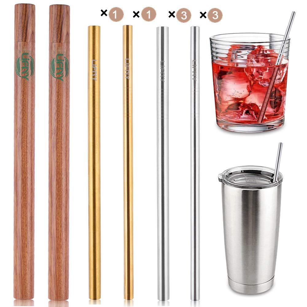 Eco-Friendly Reusable  Premium Stainless Steel Smoothie Straws 8Pcs 8 5 Reusable Straws With Case Metal Straws for Yeti Ozark 2Pcs Wooden Carrying Cases 4pcs Cleaning Brushes