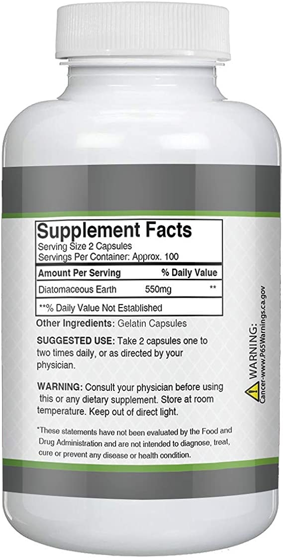 Amazon Com Diatomaceous Earth Superfood Supplement 200 Capsules 550 Mg Serving 100 Servings Bottle By Knock Off Pharmacy Food Safe Improves Sleep Patterns Strengthens Bones Joints Total Body Welln Health Personal Care