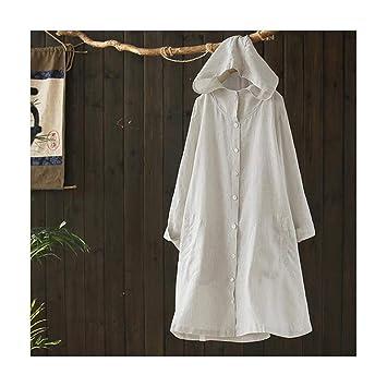 ZSRHH-Falda Vestido de Mujer Camisa a Rayas de algodón y Lino con ...