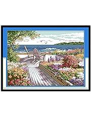 Joy Sunday Cross Stitch kits, Seaside landscapes (14CT Stamped)