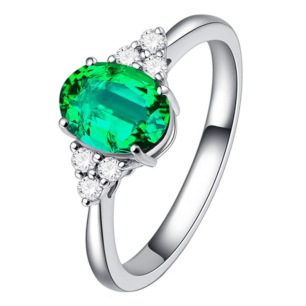 Booboda JJZ353 Natural Pigeon Blood Ruby Ring, 18k Gold and Diamonds Diamond Ring, Ladies Dress Ring(Green10#)