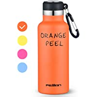 FEIJIAN Double Wall Vacuum Insulated Stainless Steel Sports Water Bottle with BPA Free for Gym Drinking Outdoor Sports Travel Bicycle Cycling Camping Golf Swimming Gift (Orange)