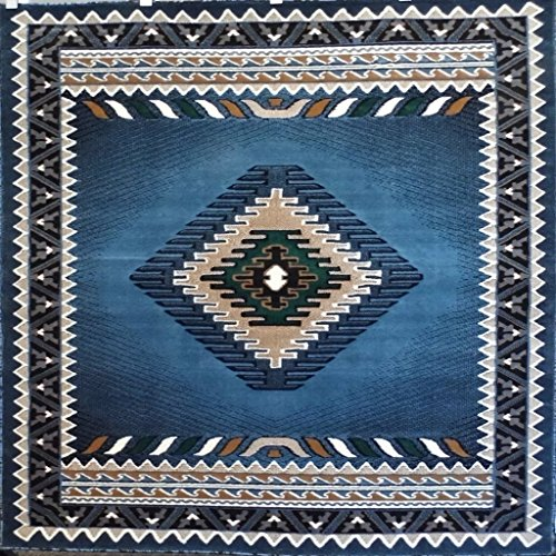 Southwest Native American Square Tribal Area Rug Blue Green Design D143 (5 Feet 3 Inch X 5 Feet 3 Inch - Round Tribal