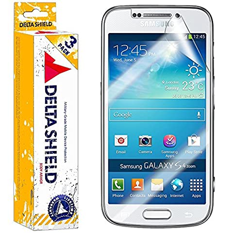 [3-PACK] DeltaShield BodyArmor – Samsung Galaxy S4 Zoom Screen Protector – Premium HD Ultra-Clear Cover Shield with Lifetime Warranty Replacements – Anti-Bubble & Anti-Fingerprint Military-Grade (Android S4 Privacy Screen)