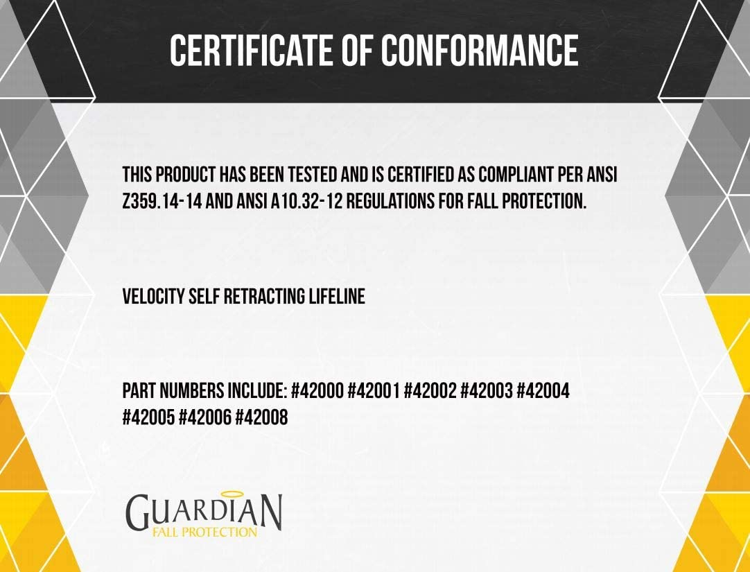 16 16/' Qual Craft Industries Inc. Guardian Fall Protection 42000 Velocity Cable SRL