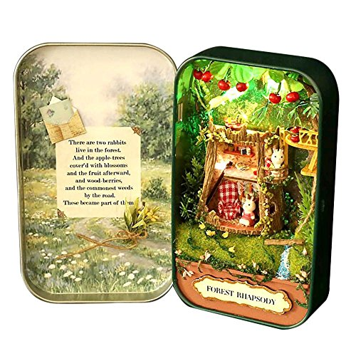 Dollhouse DIY 3D Theater Miniature Box LED Doll Houses Kids Girl Toy Snow Dream - Green