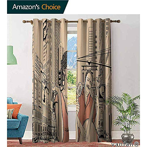 LQQBSTORAGE Jazz Music,Curtains Blackout 2 Panels,an Jazz Singer with Double-Bass Player in A Street of New York Urban Lifestyle,Curtains for Kitchen Windows,Brown Beige