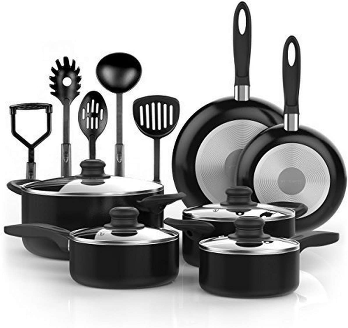 Amazon Com Vremi 15 Piece Nonstick Cookware Set Durable Aluminum Pots And Pans With Cooking Utensils Oven Safe Multi Quart Enameled Saucepans Dutch Ovens And Fry Pans With Glass Lid