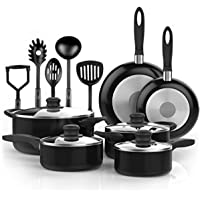 Vremi 15 Piece Nonstick Cookware Set - Durable Aluminum Pots and Pans with Cooking Utensils - Oven Safe Multi Quart Enameled Saucepans Dutch Ovens and Fry Pans with Glass Lid - Black