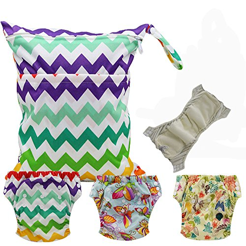Baby Waterproof Reuseable Training Nappy Diapers 3pcs, 1pc Wet Dry Bag by Ohbabyka by OHBABYKA