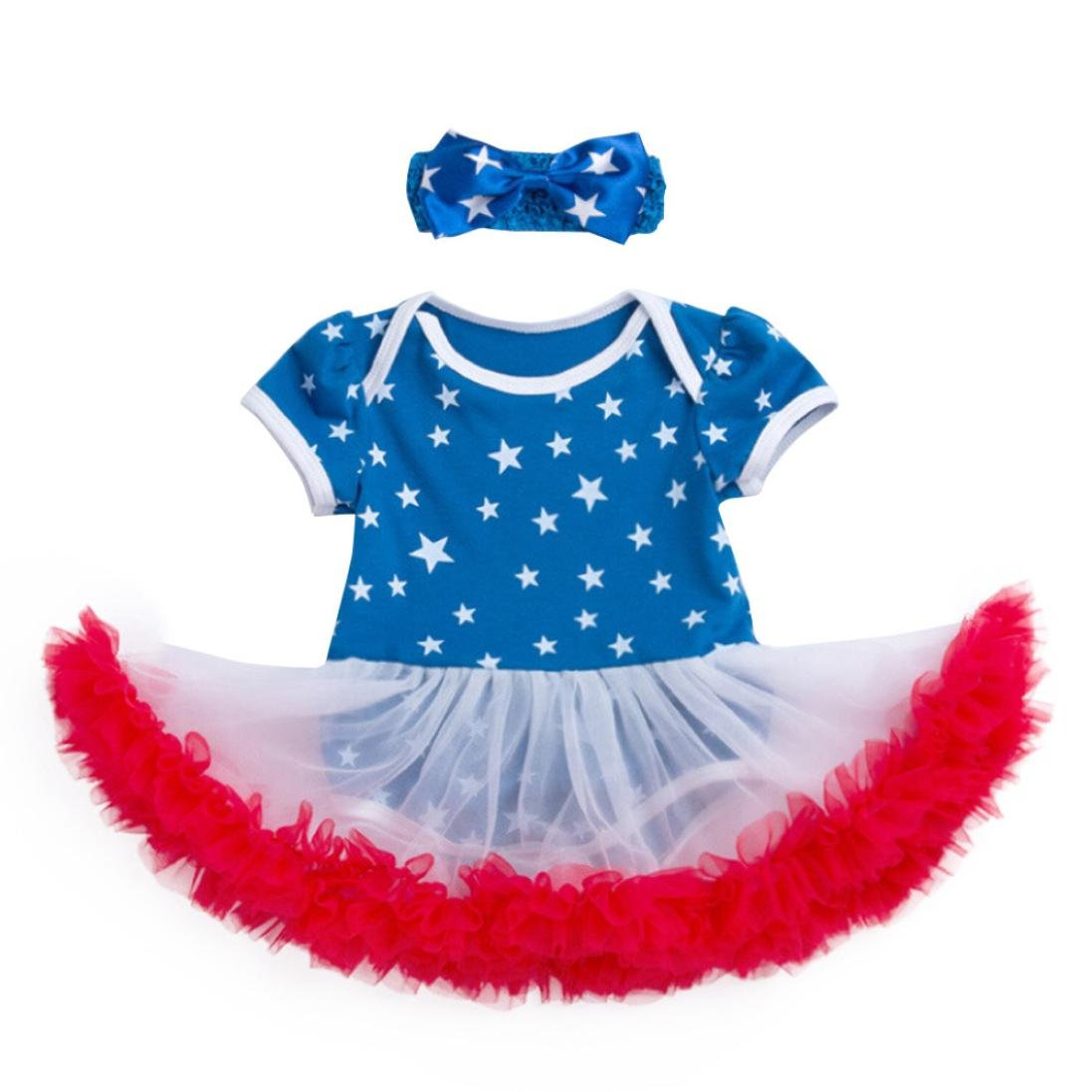 Amazon.com: ShiTou Girls Dress&&American Star Headband+Dress Party Dress//Princess Dress (Blue, 73): Clothing
